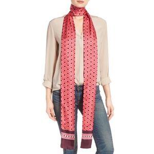 Kate Spade Skinny Silk Moroccan Tile Scarf Pink